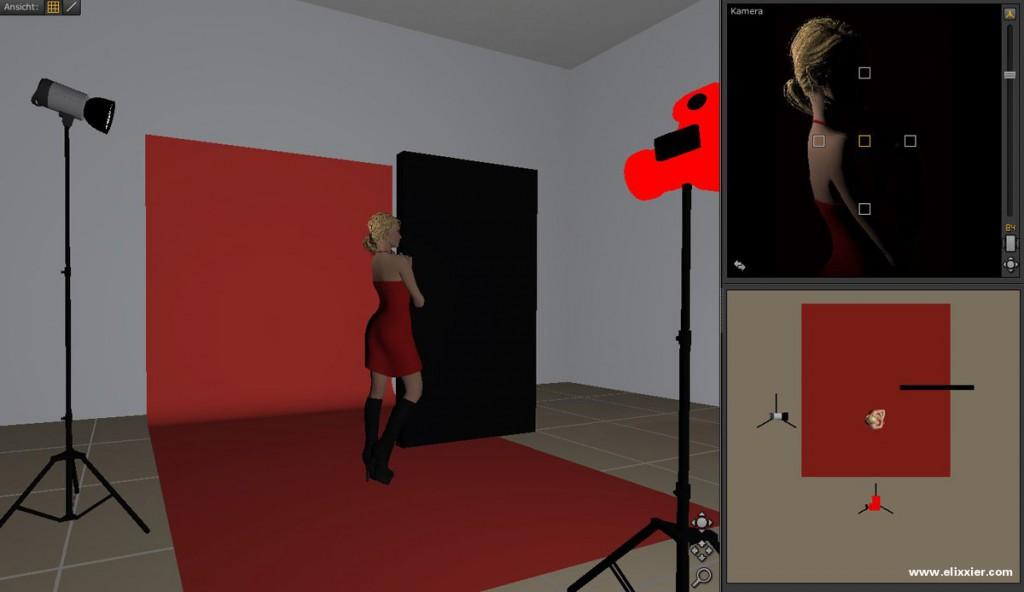 Haarlicht mit Studioansicht, Aufbau und Ergebnis im Überblick.