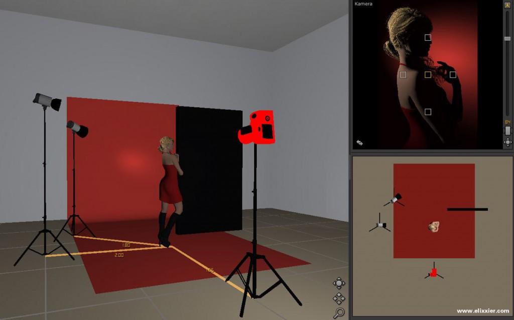 Hintergrund-, Haarlicht mit Studioansicht, Aufbau und Ergebnis im Überblick.