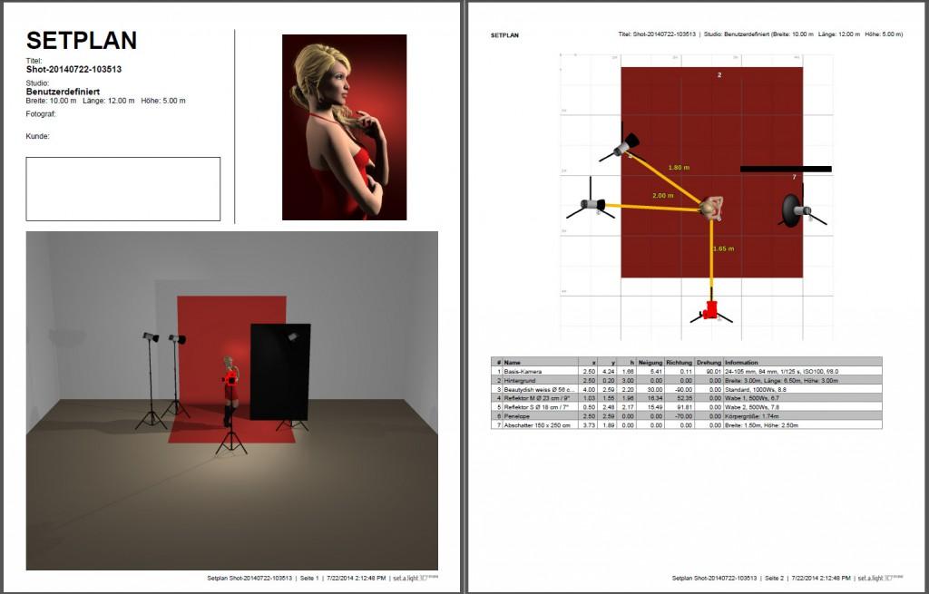 Zweiseitiger PDF Setplan als Ausdruck für Lehrunterlagen.