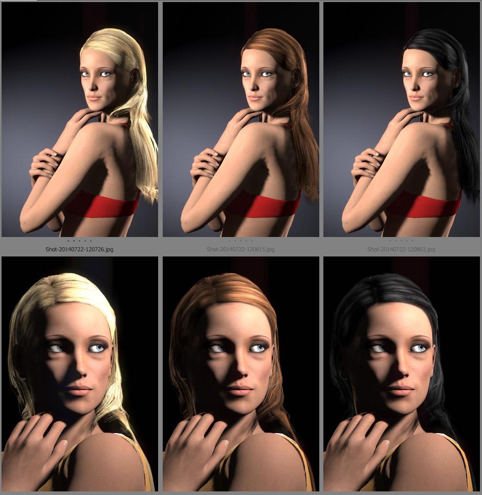 Auswirkung der Haarfarbe auf den Lichtaufbau.